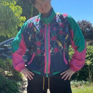 Vintage 90s Color Block Floral Windbreaker Jacket